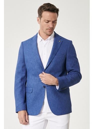 Altınyıldız Classics Slim Fit Dar Kesim Mono Yaka Blazer Ceket 4A0421200002 Mavi